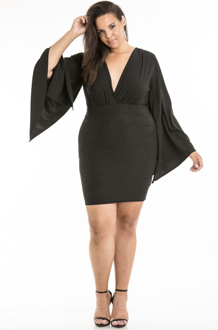 curvy draped sleeve glitter dress