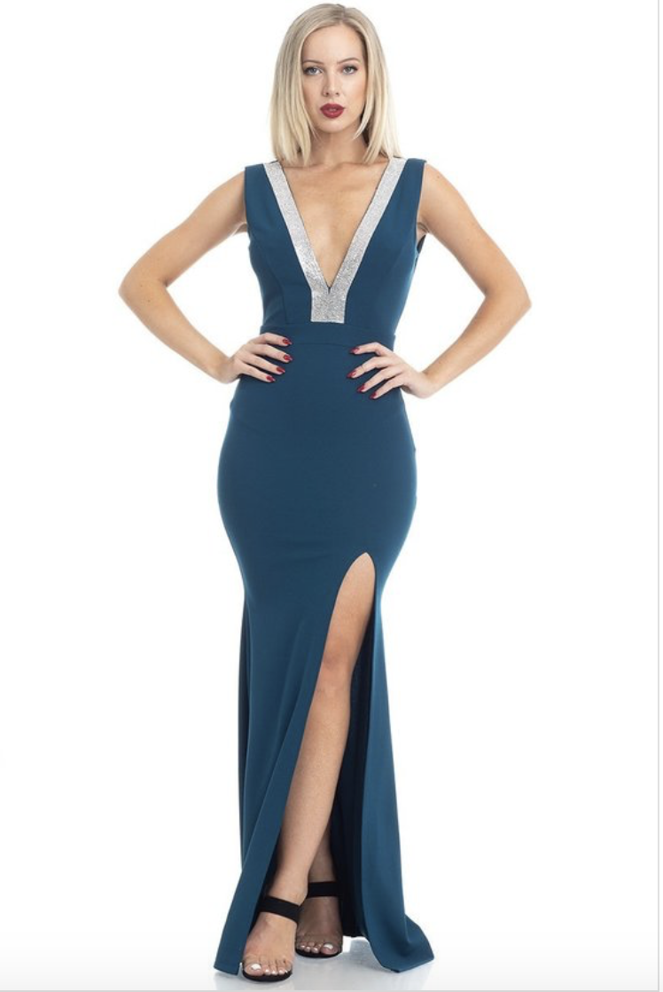 rhinestone trim Vneck gown