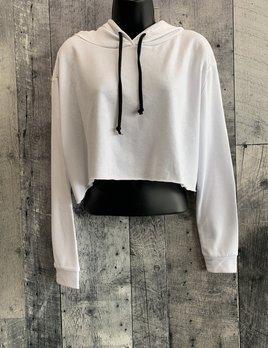 raw edge crop hoodie