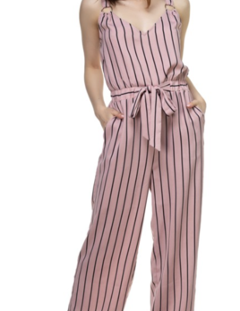 tie waist striped jumpsuit