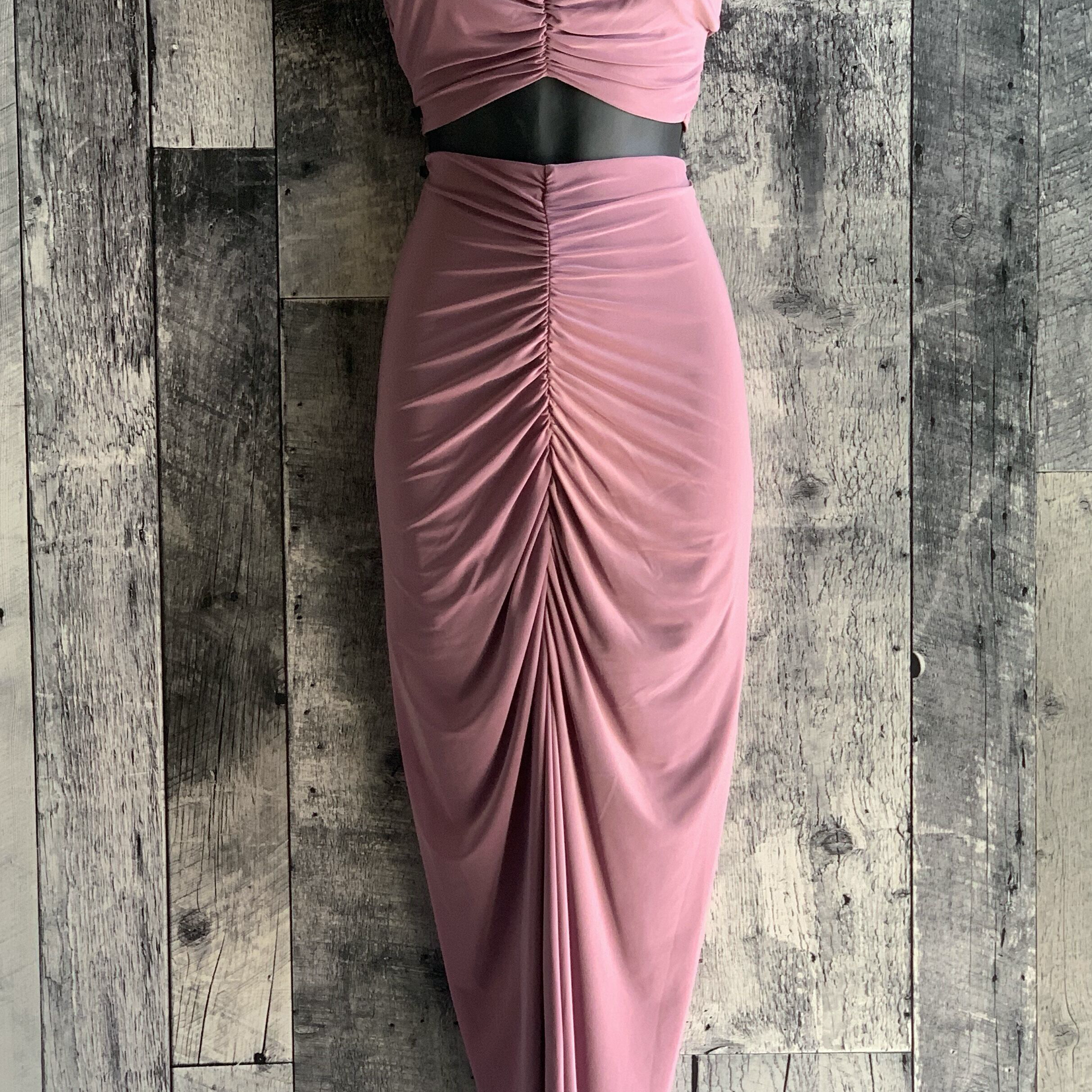 gathered fitted maxi skirt