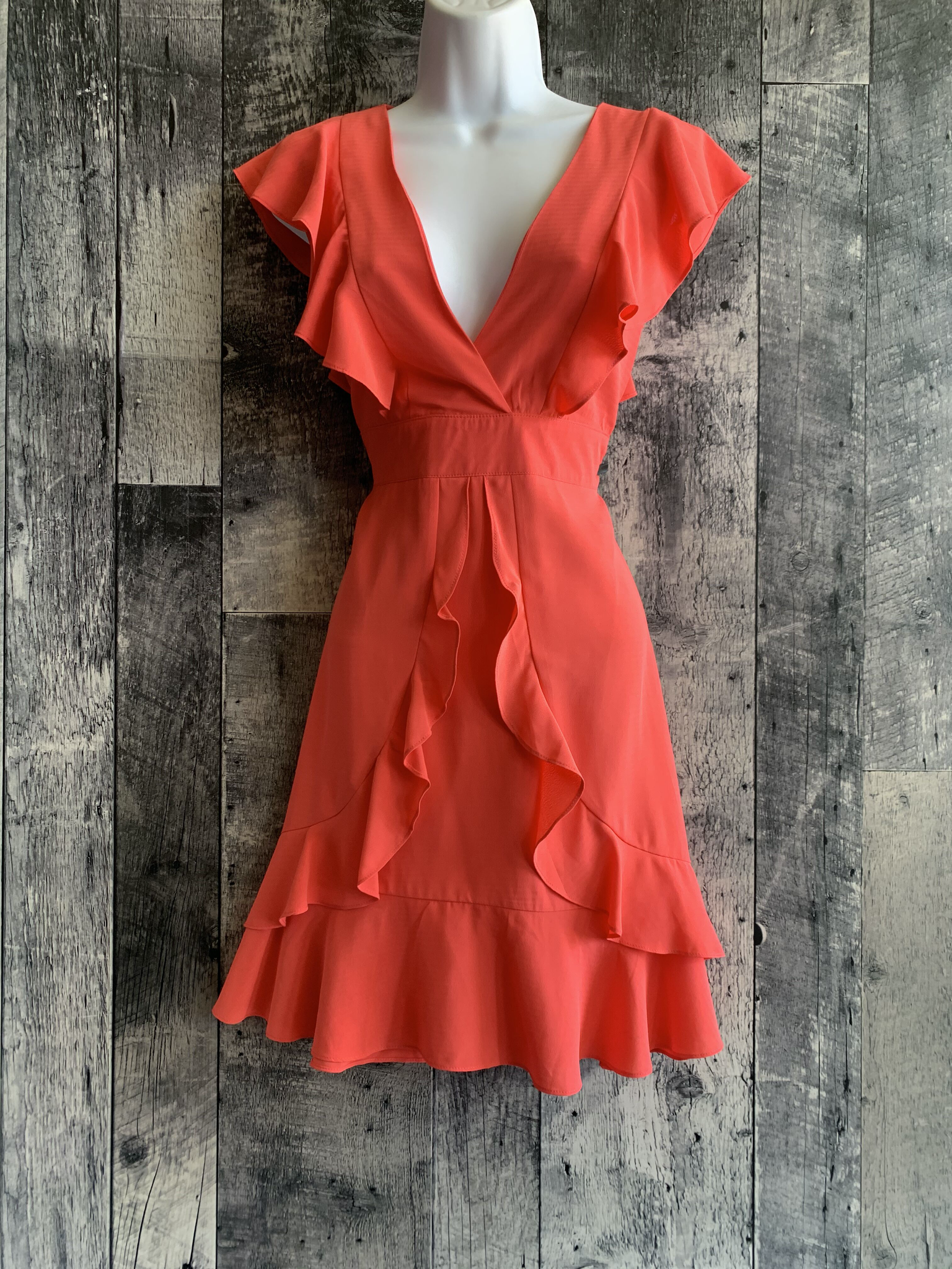 ruffle waist tie dress