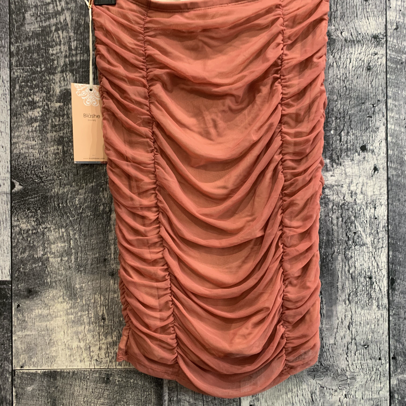 rushed mesh skirt