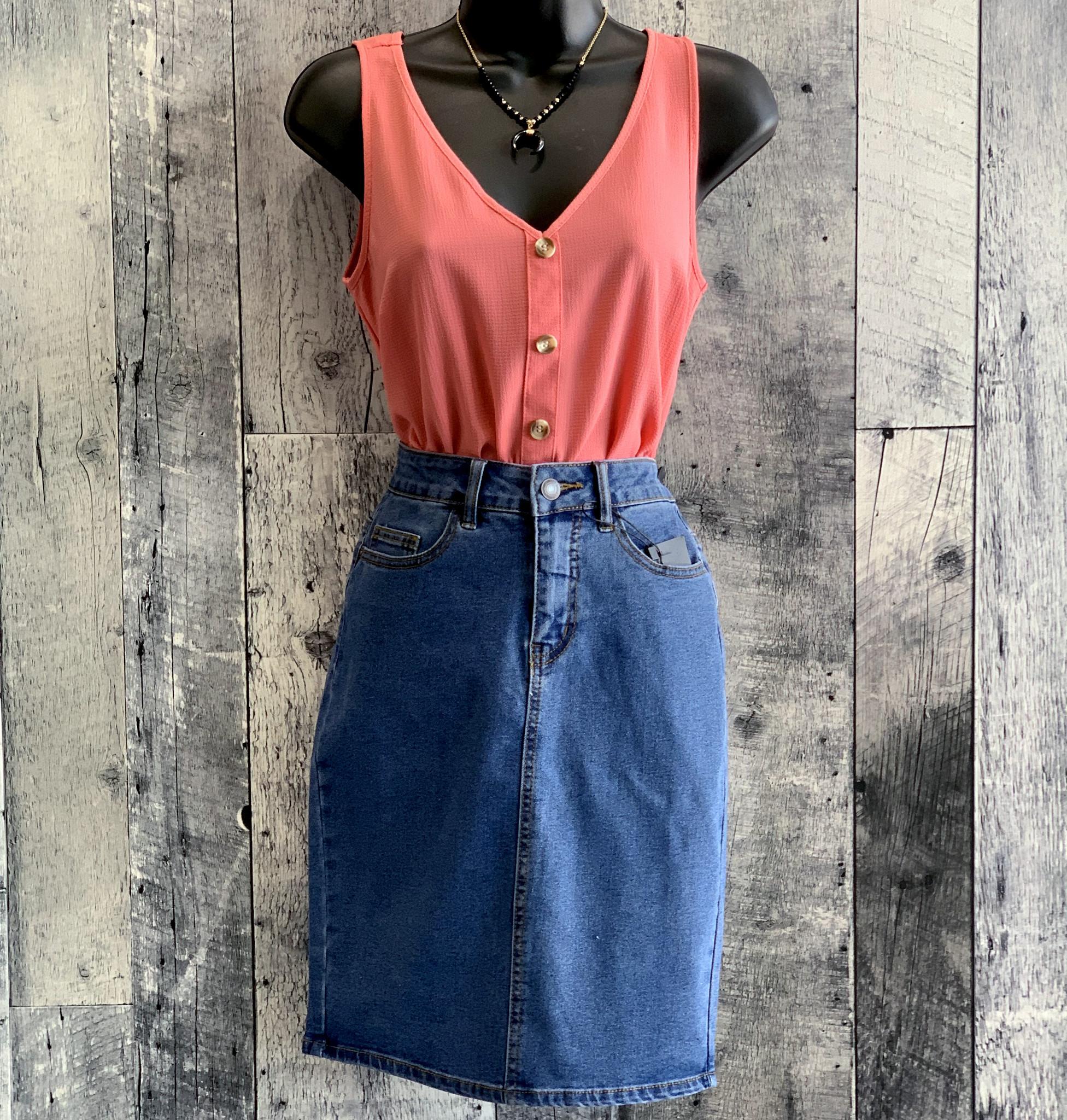 vero moda - high waist denim pencil skirt