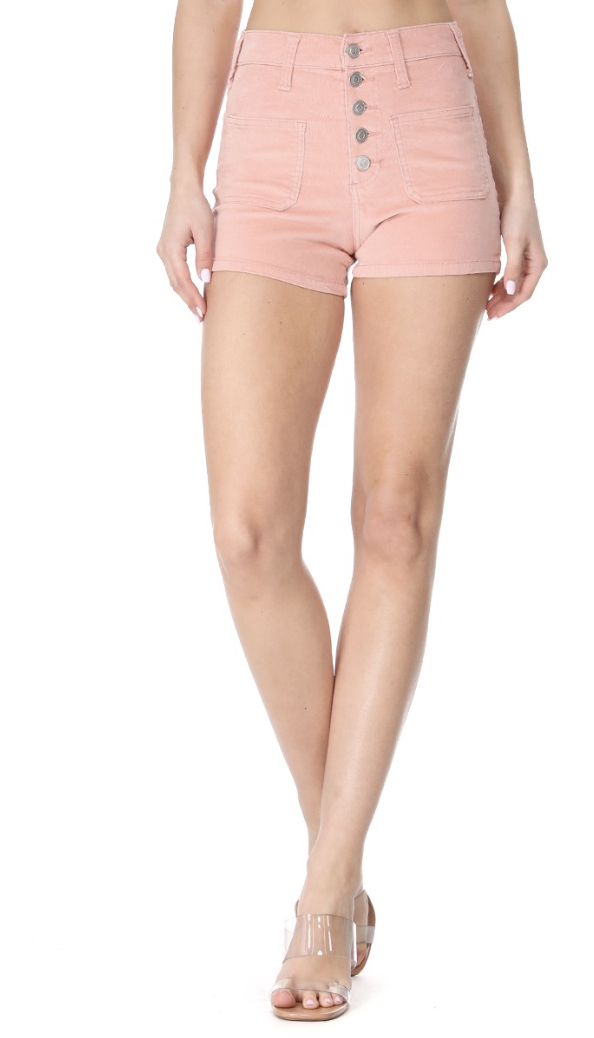 stretchy high rise corduroy shorts