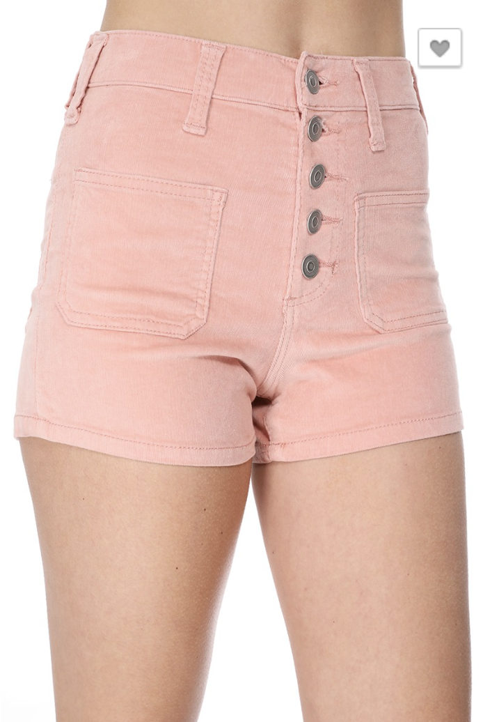 stretchy high rise corduroy shorts