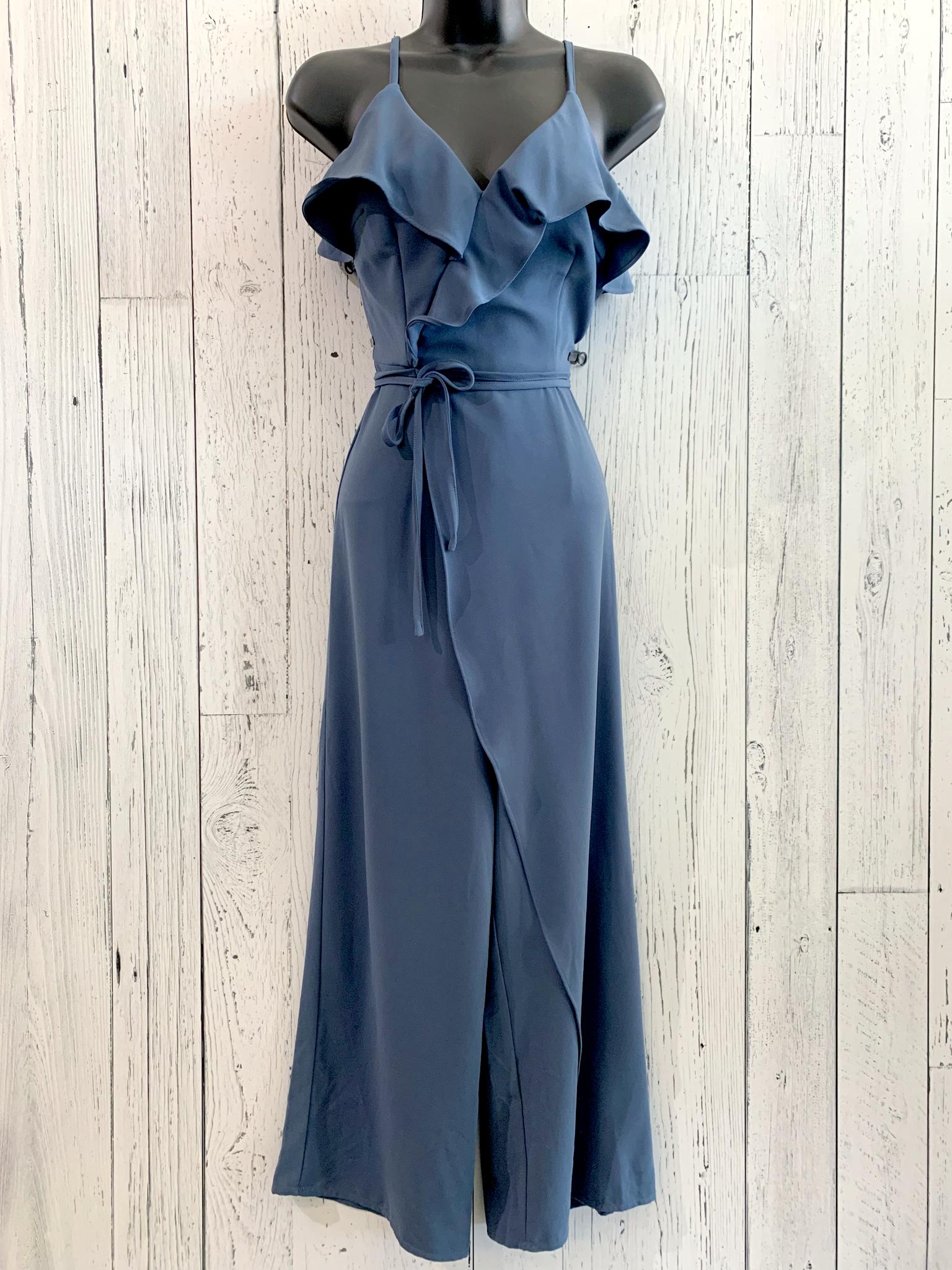 faux wrap ruffle jumpsuit
