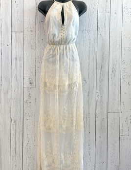sheer lace maxi romper dress