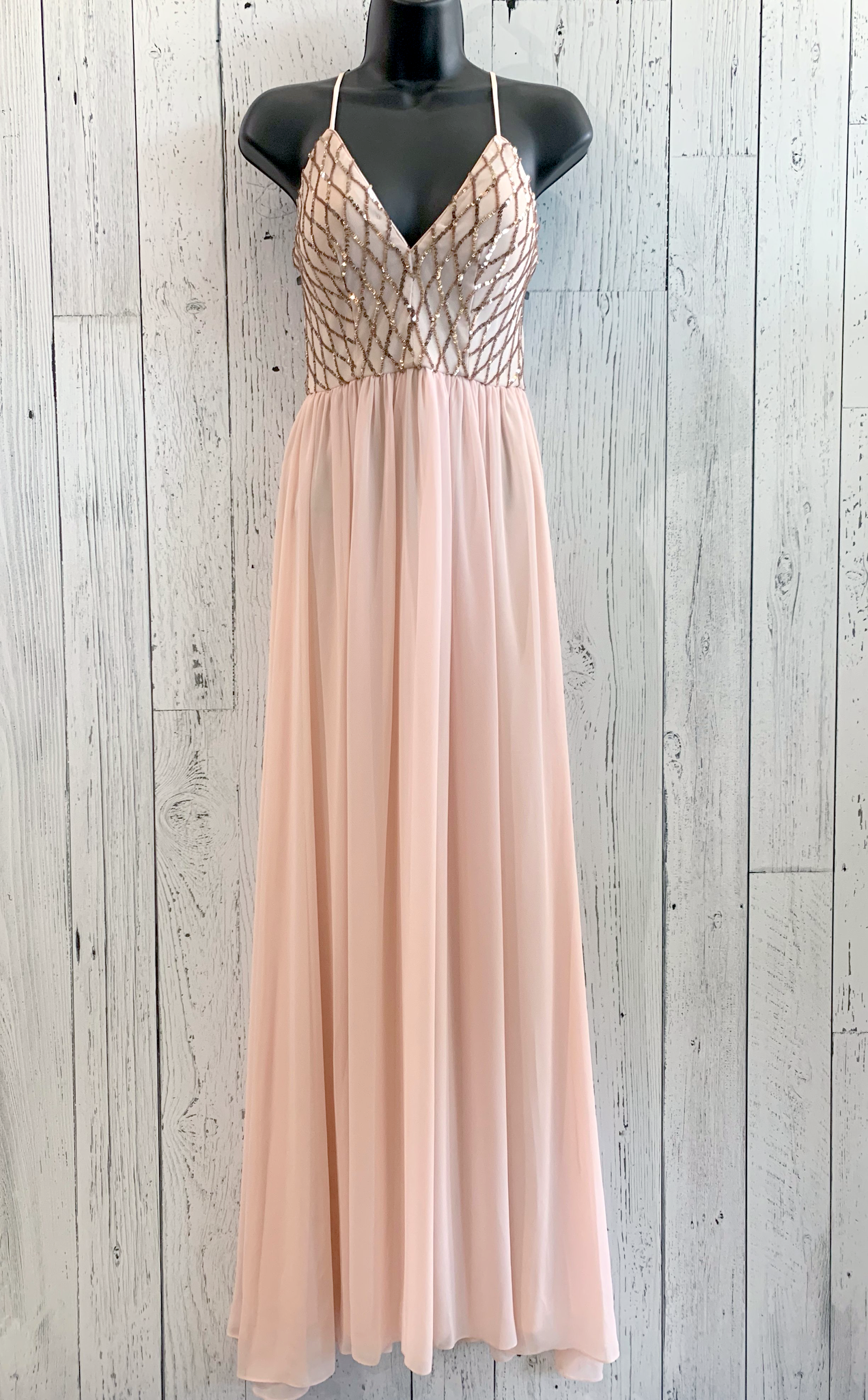 sequin & chiffon gown