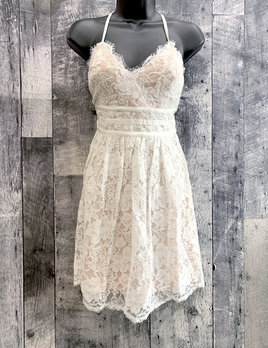 eyelash lace fit & flare dress