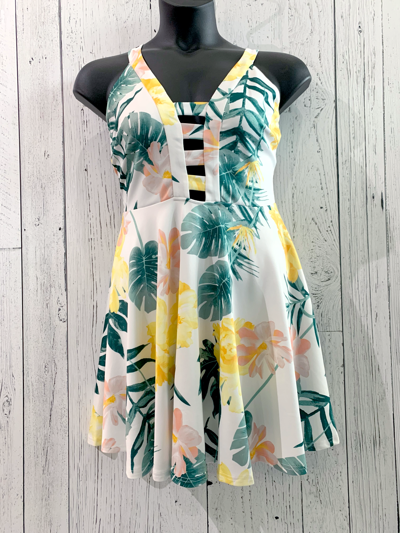 curvy tropical fit & flare dress