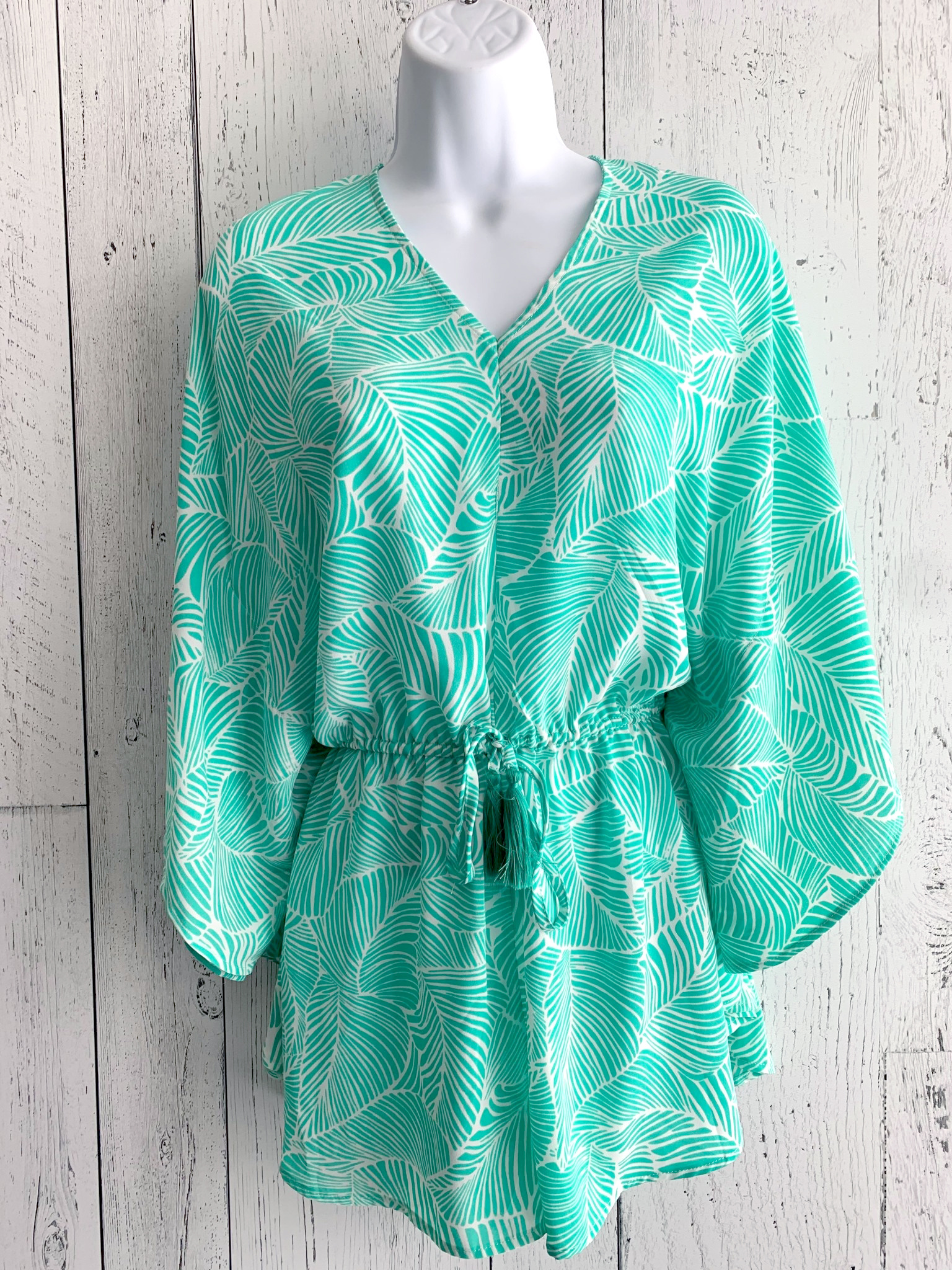 palm print  kimono romper