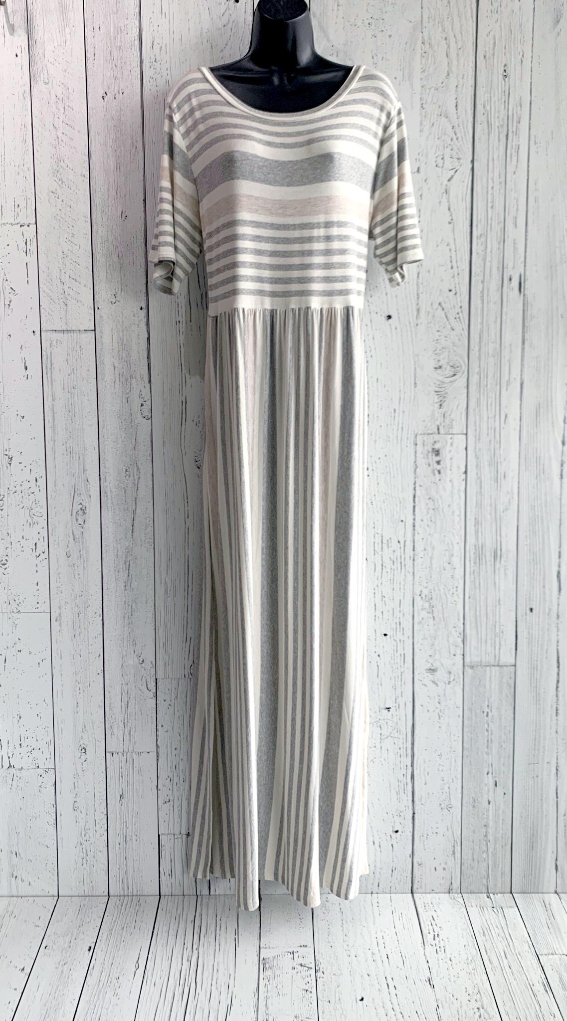 striped cap sleeve maxi dress