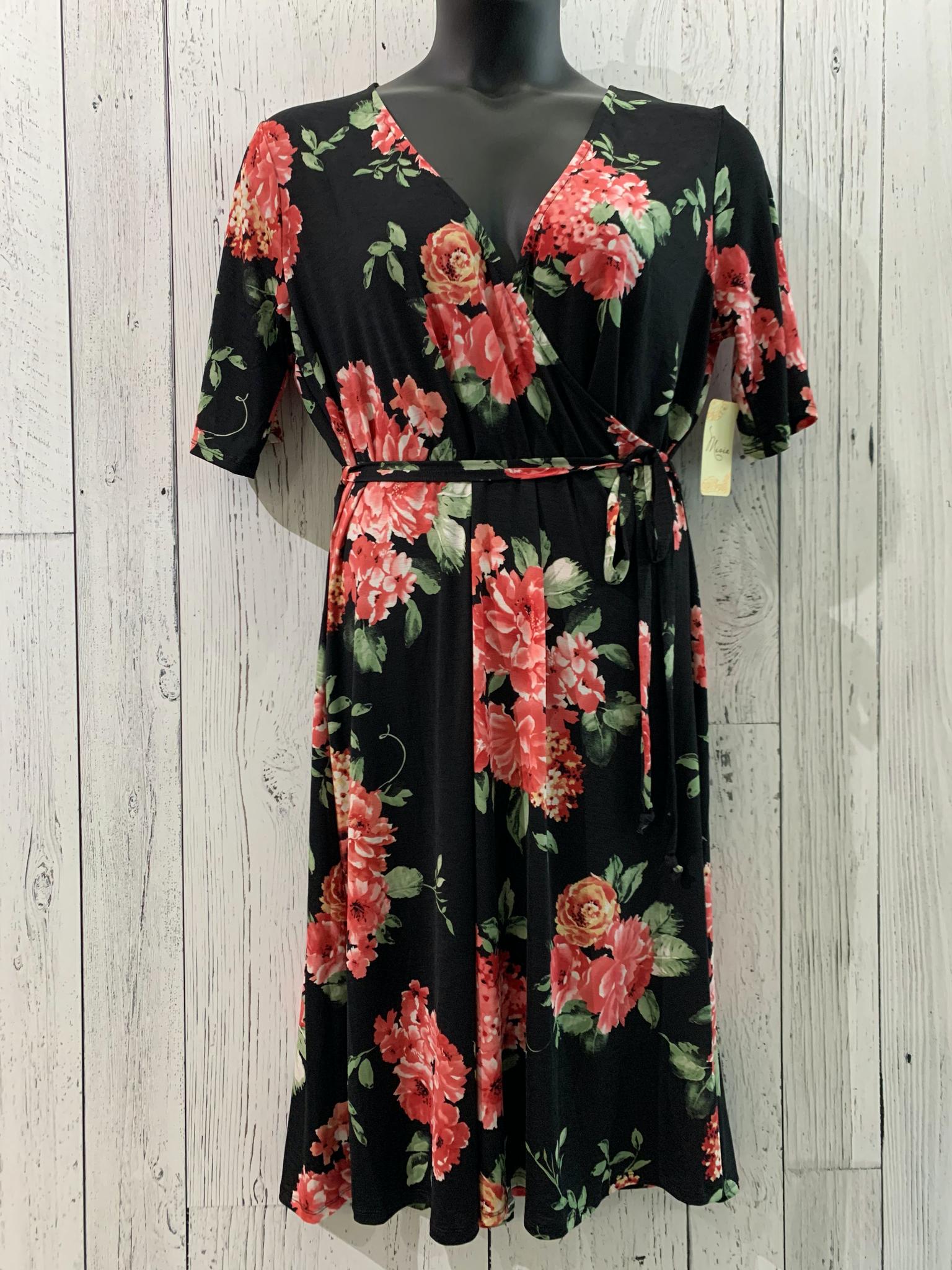 curvy Vneck floral wrap dress