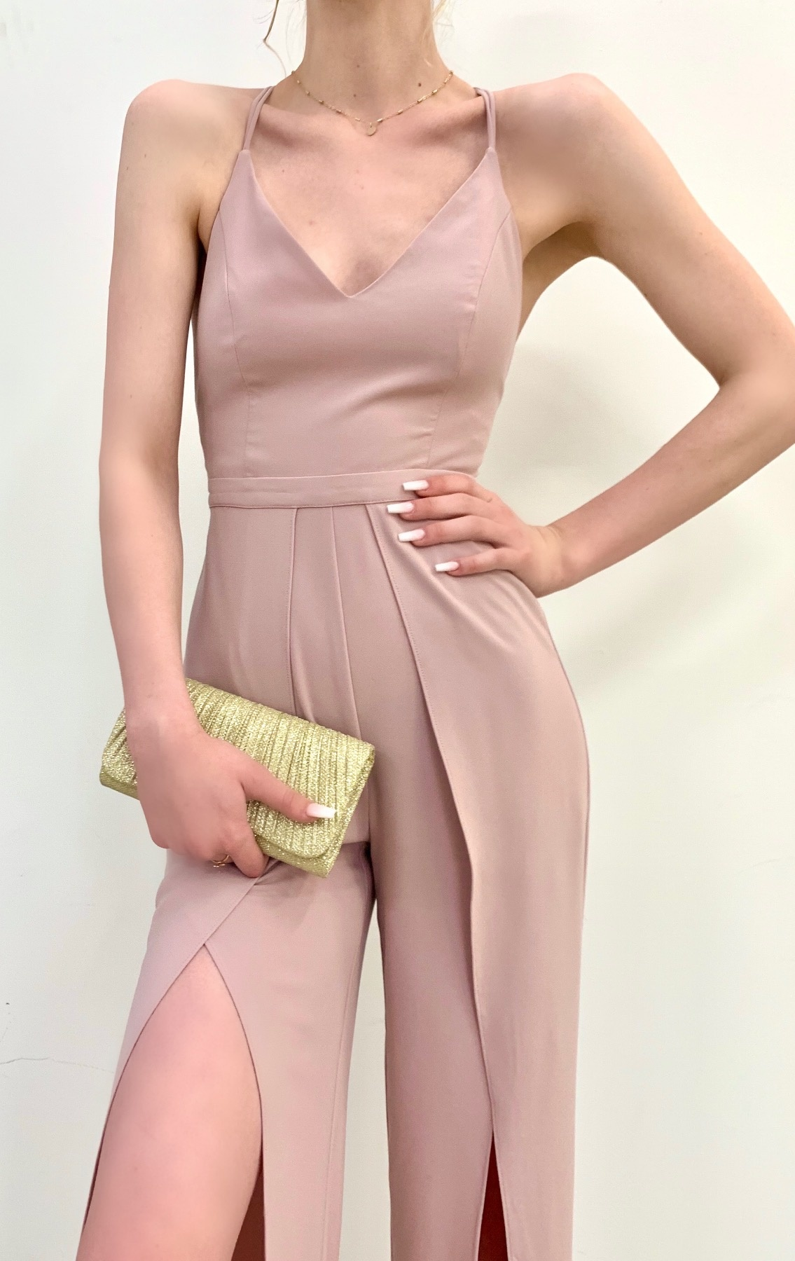 open back slit side jumpsuit