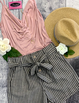 striped linen short
