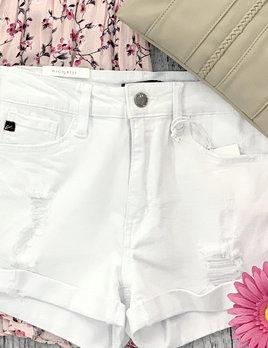 cuffed bottom high rise shorts