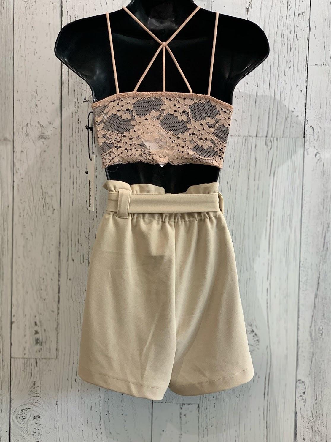 double strap lace bustier top