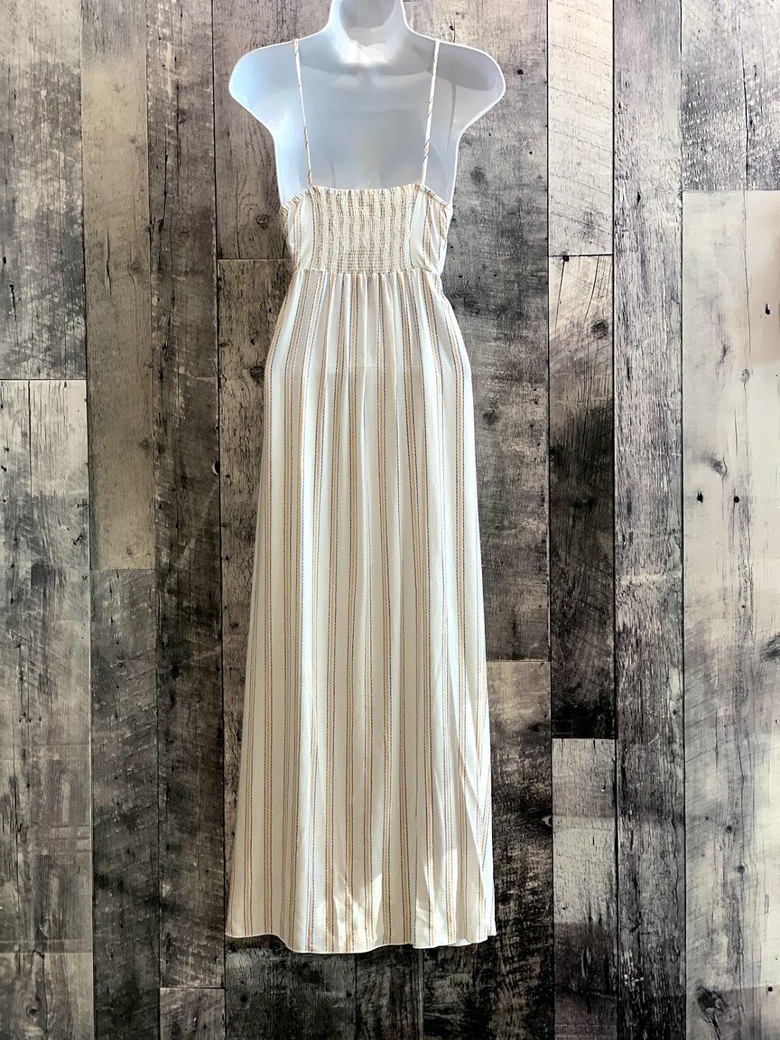 open front stripe maxi dress