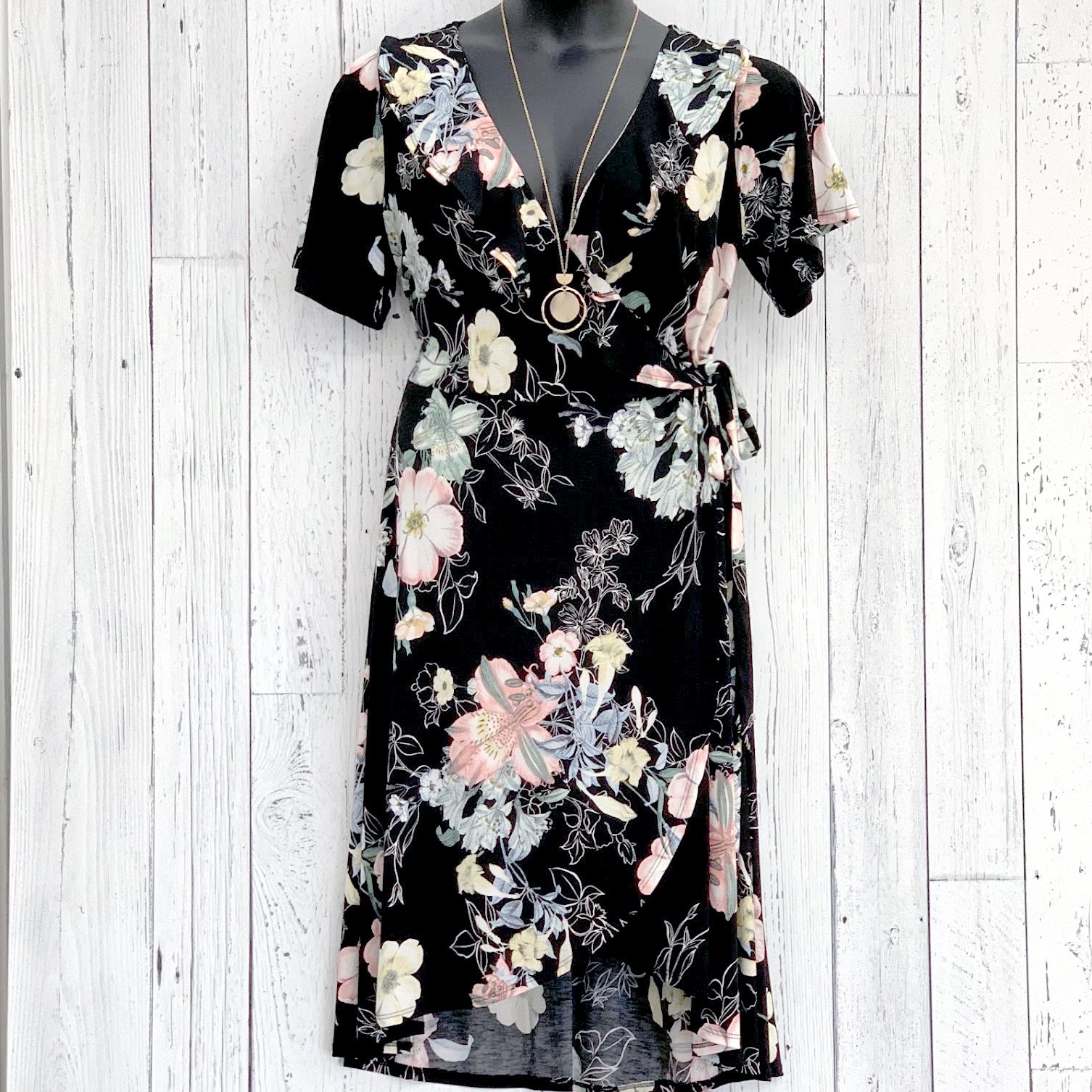 curvy floral wrap dress