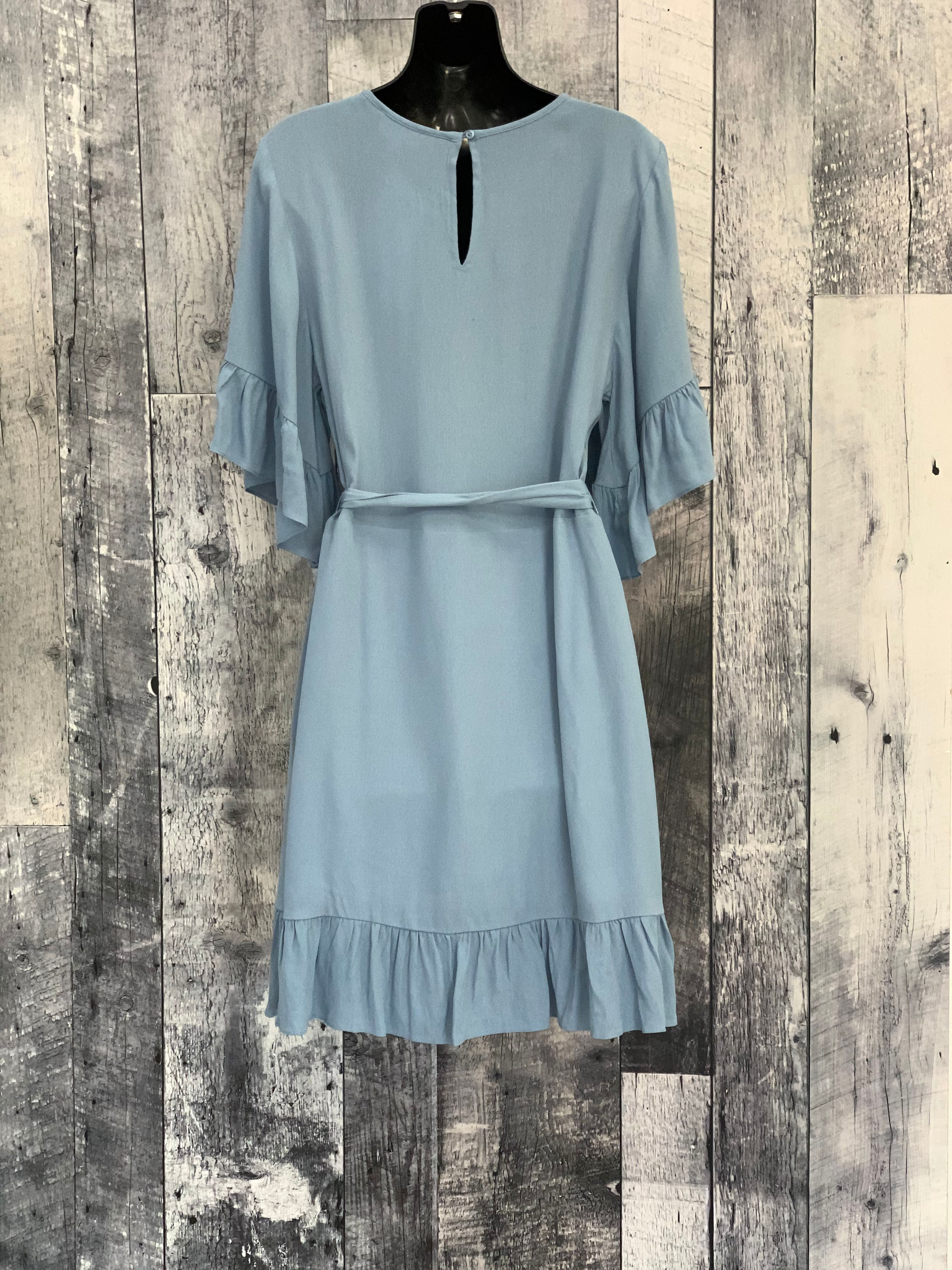 eyelet ruffle sleeve dress