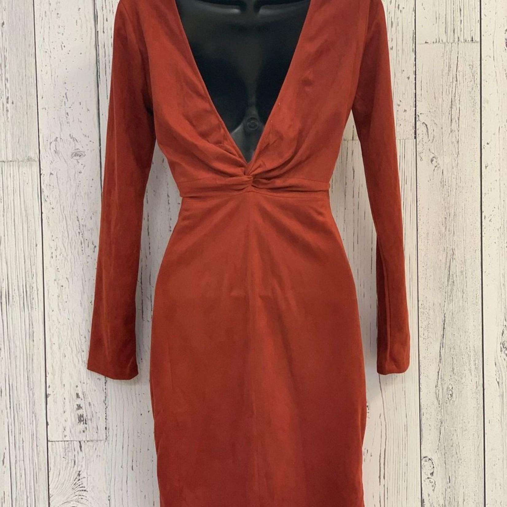 open back long sleeve suede dress
