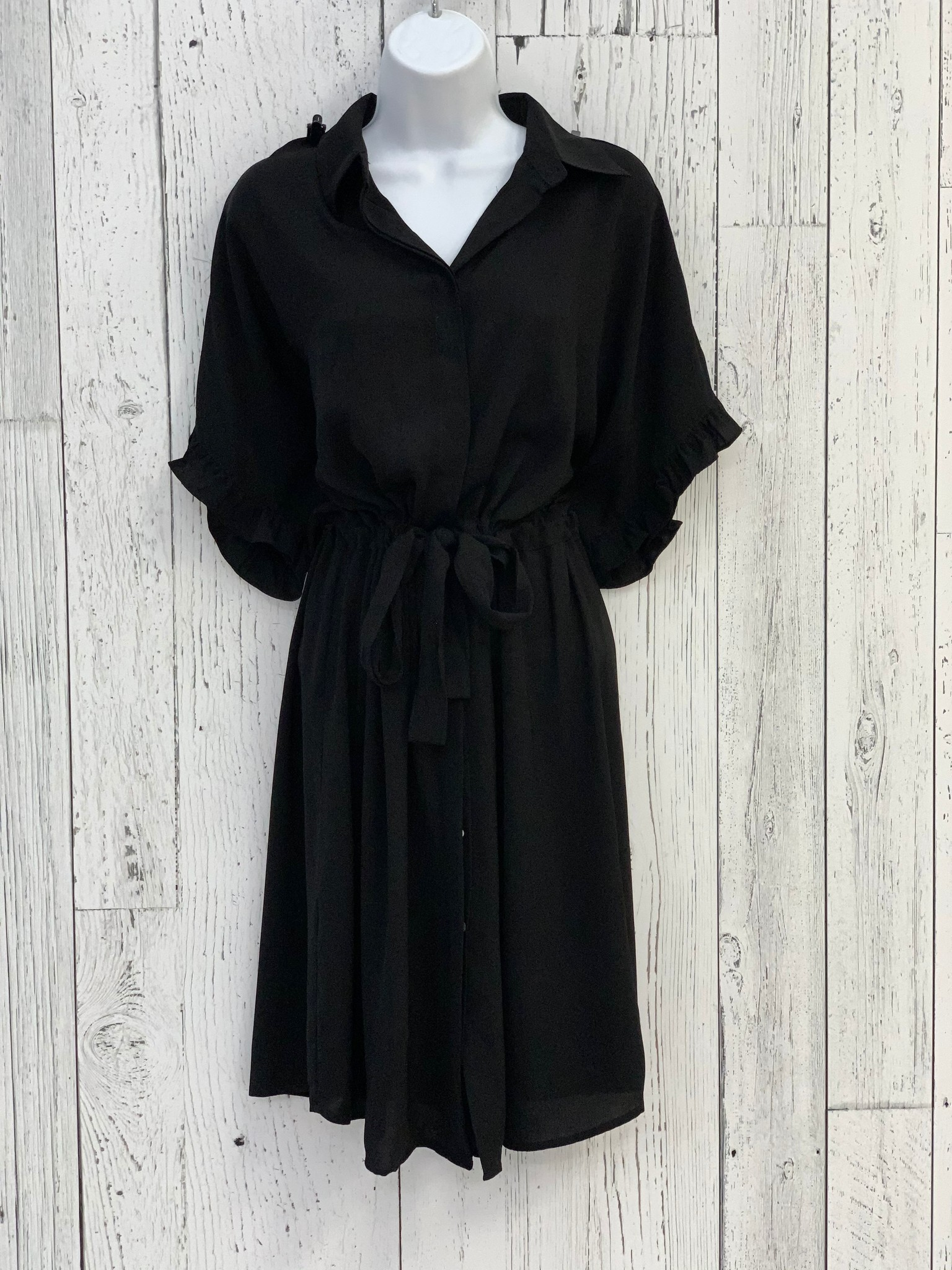 drawstring ruffle shirt dress