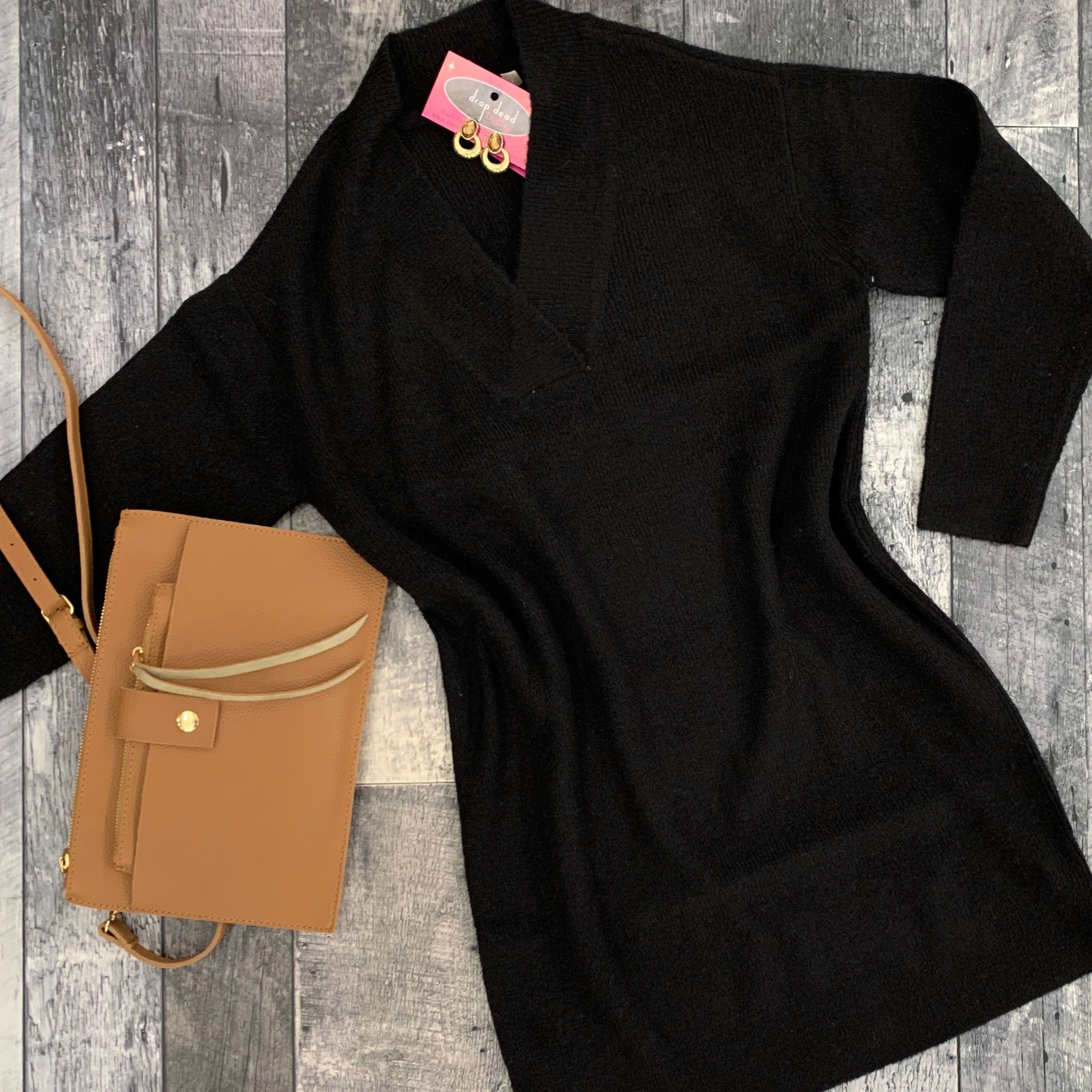 rd style - long sleeve knit sweater dress