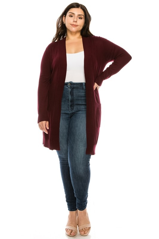 curvy long pocket cardigan