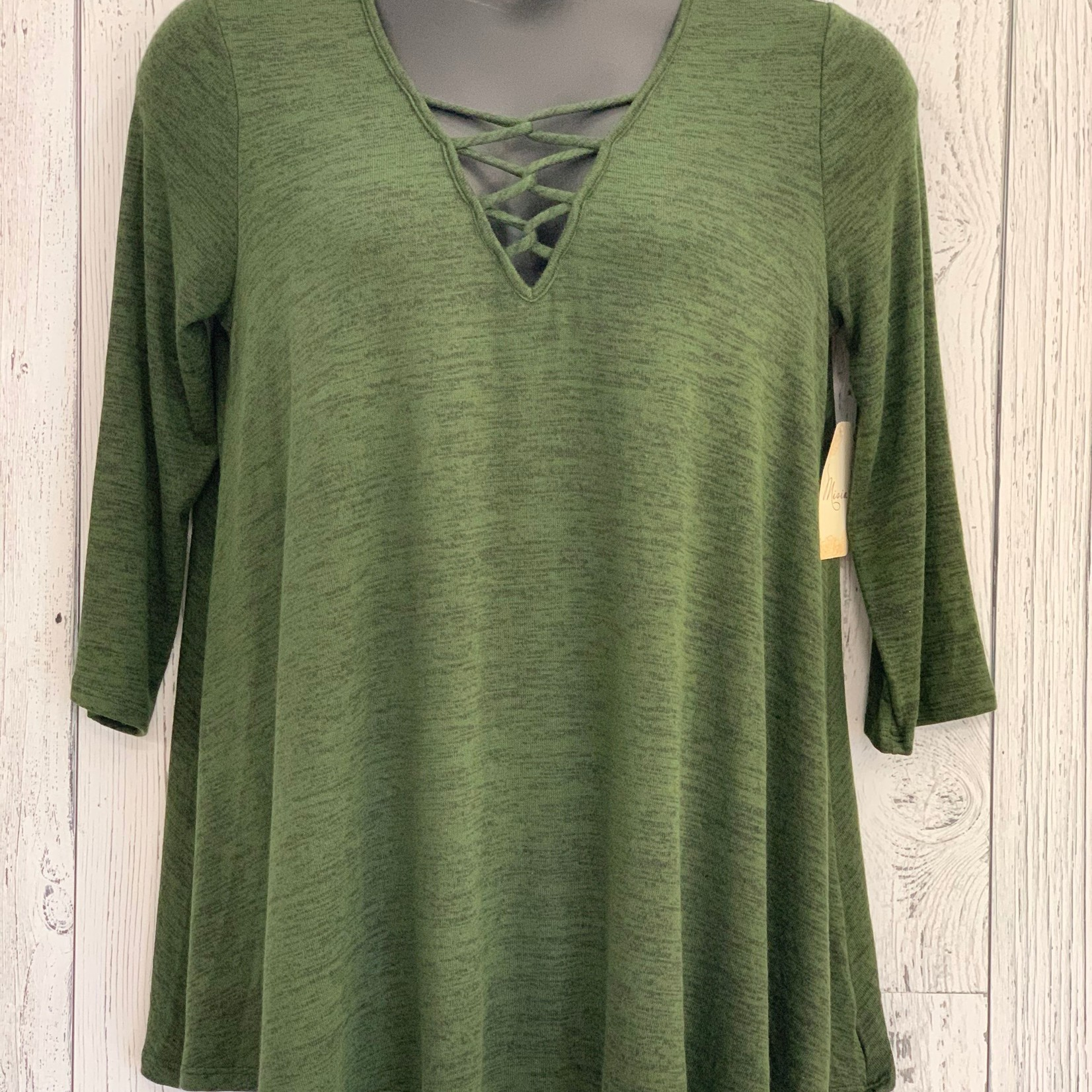 curvy cross neckline swing tunic