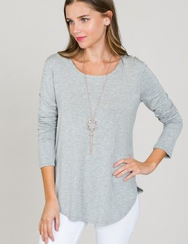 long sleeve scoop tunic top
