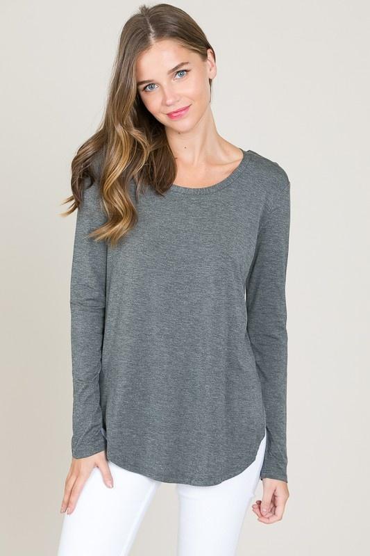 long sleeve scoop tunic top
