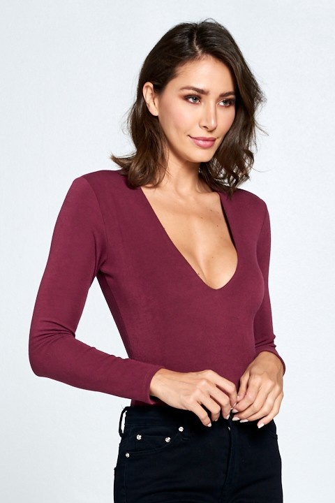 Claudia deep V bodysuit