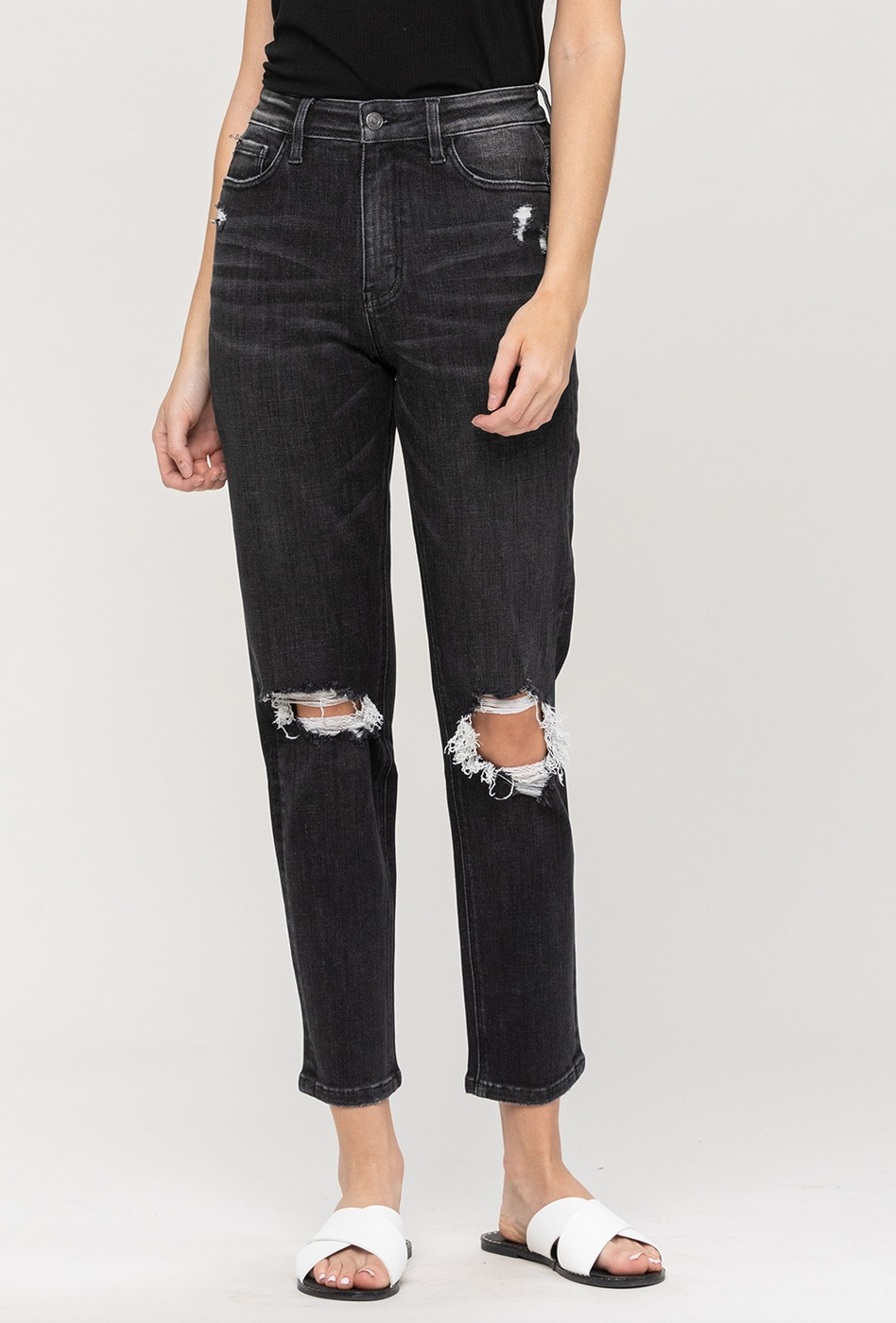 veronica distressed stretch mom jean