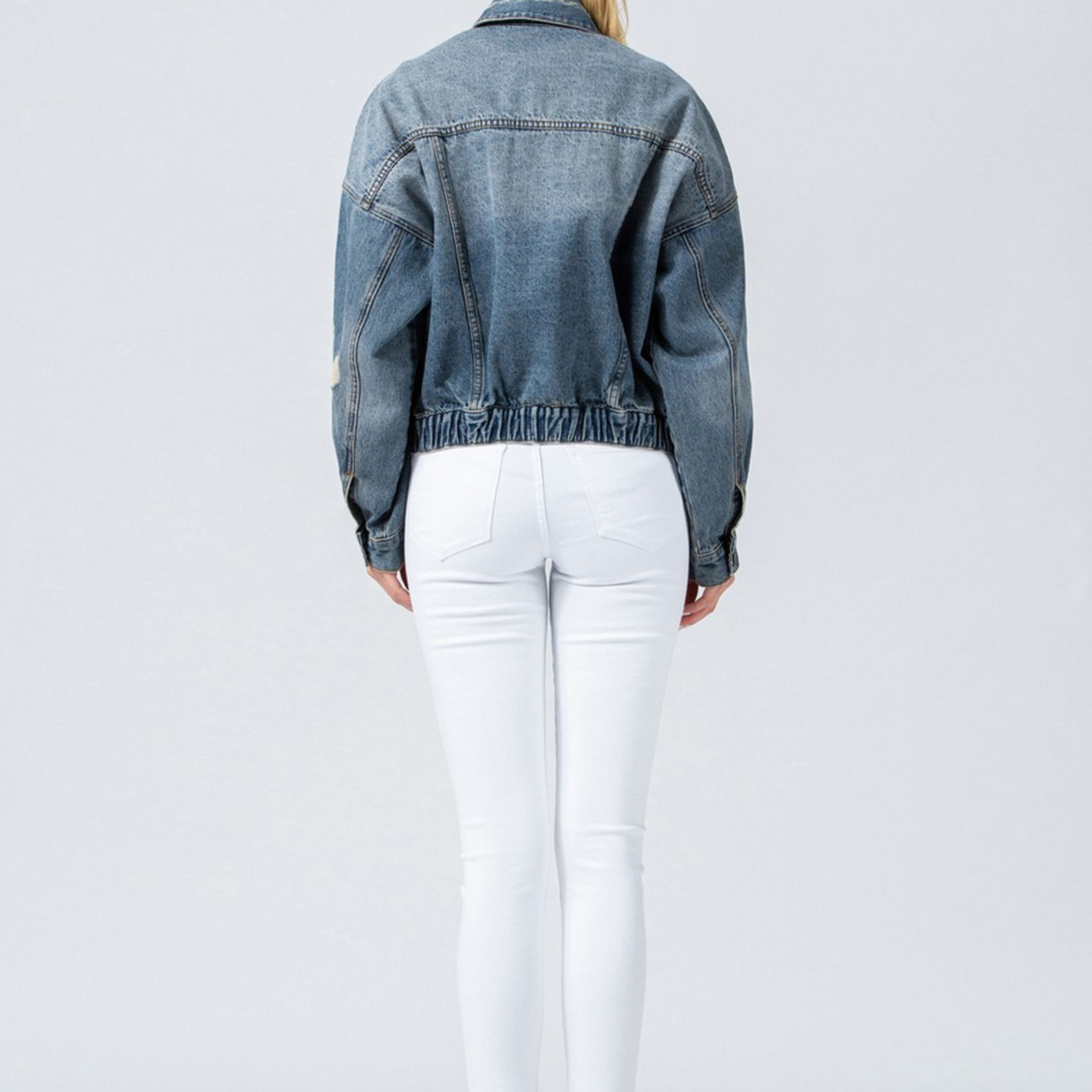 vivian elastic waist  denim jacket