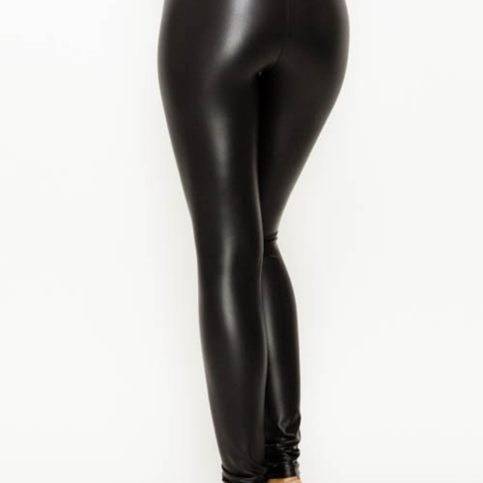 curvy faux leather high waist leggings