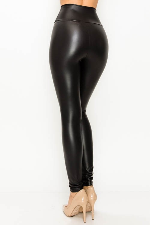 curvy faux leather high waist leggings