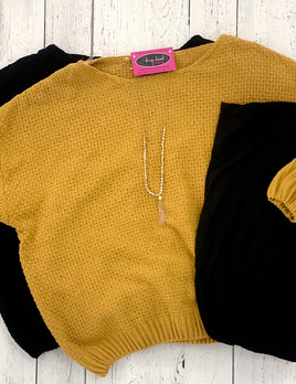 curvy chenille cable detail sweater