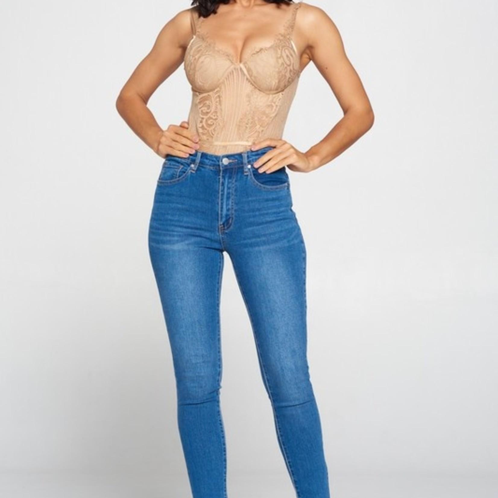 Clarissa sparkle lace open back bodysuit