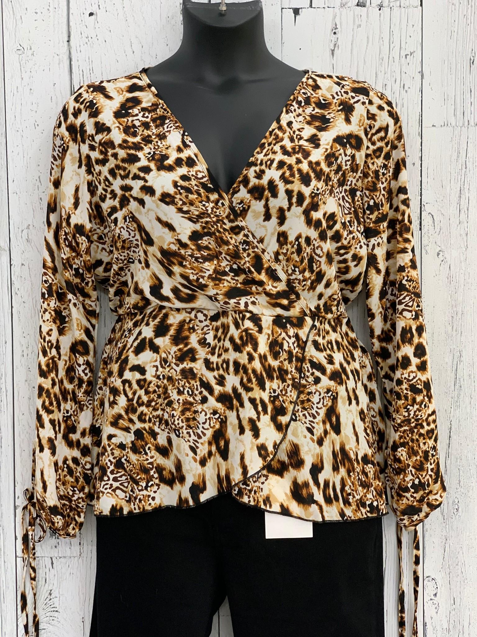 curvy chiffon leopard peplum blouse