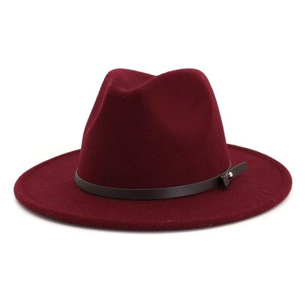 thin belt fedora hat WINE