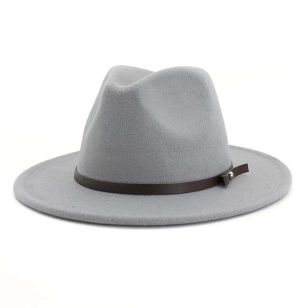thin belt fedora hat H GREY