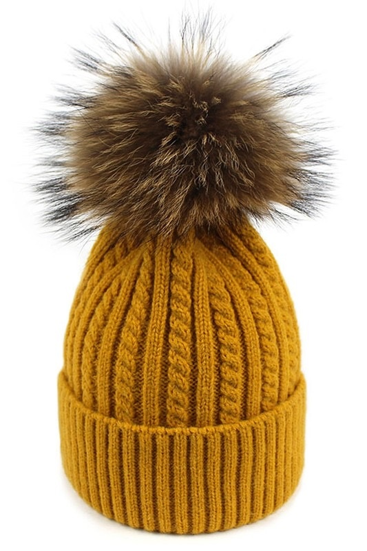 stripe cable knit pompom toque - mustard
