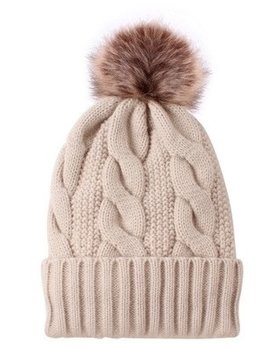 cable knit pompom toque - beige