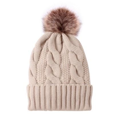 cable knit pompom toque - beige
