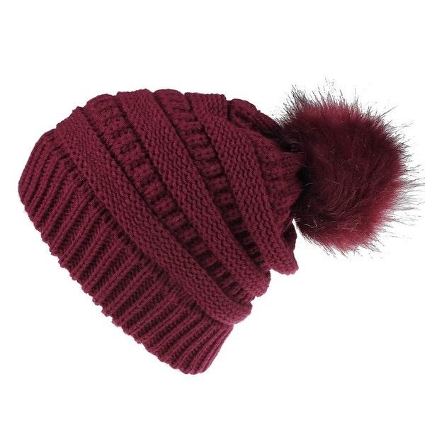 knit pompom toque - wine