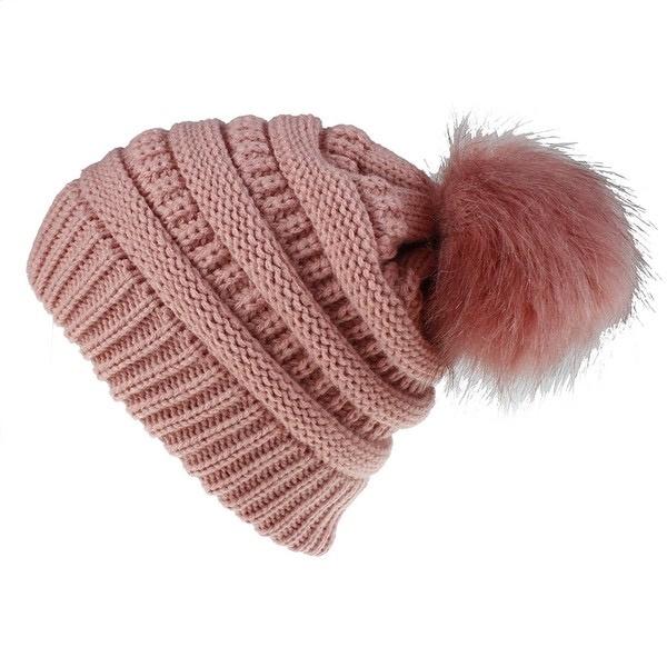 knit pompom toque - pink