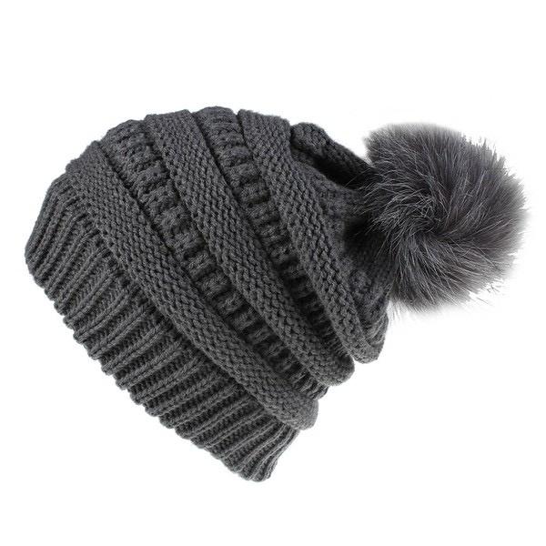 knit pompom toque - charcoal