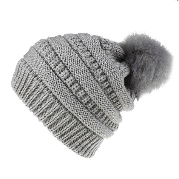 knit pompom toque - heather grey
