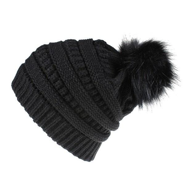 knit pompom toque -  black